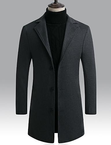 cheap Men's Outerwear-Men's Daily / Going out Basic Spring / Fall & Winter Long Coat, Solid Colored Notch Lapel Long Sleeve Polyester / Nylon Black / Wine / Light gray
