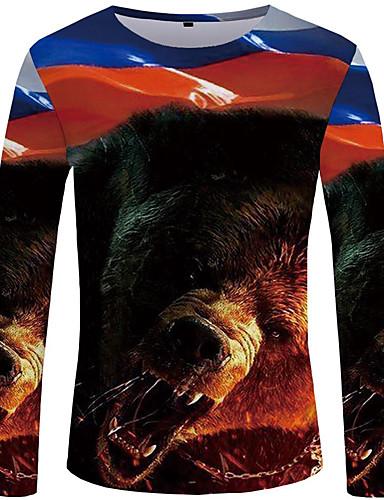 voordelige Heren T-shirts & tanktops-Heren Street chic / overdreven T-shirt Effen / Kleurenblok / dier Bruin