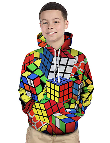 cheap Boys' Clothing-Kids Toddler Boys' Active Basic Rubik's Cube Geometric Color Block 3D Print Long Sleeve Hoodie & Sweatshirt Rainbow