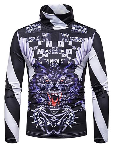 voordelige Heren T-shirts & tanktops-Heren Standaard / Street chic Patchwork / Print T-shirt Kleurenblok / 3D / dier Zwart