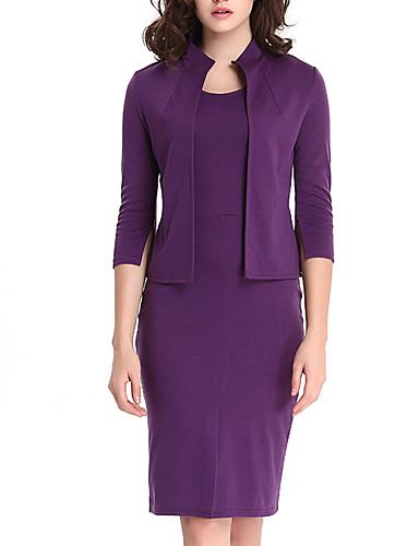 levne Pracovní šaty-Dámské Pouzdro Dvoudílné Šaty - Jednobarevné Délka ke kolenům