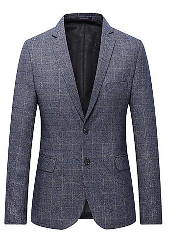 voordelige Herenblazers & kostuums-Heren Pakken, Effen Overhemdkraag Polyester blauw / Grijs