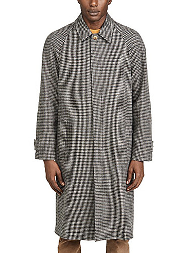 voordelige Herenmode-Heren Dagelijks Standaard Winter Lang Jas, Effen Overhemdkraag Lange mouw Polyester Khaki