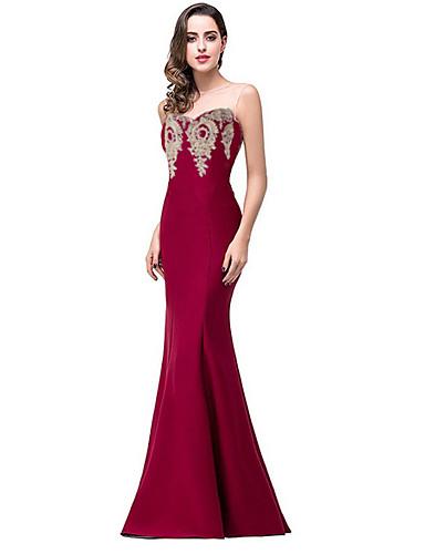 levne Šaty velkých velikostí-Dámské Elegantní Štíhlý Mořská panna Šaty - Jednobarevné, Volná záda Pod rameny Maxi