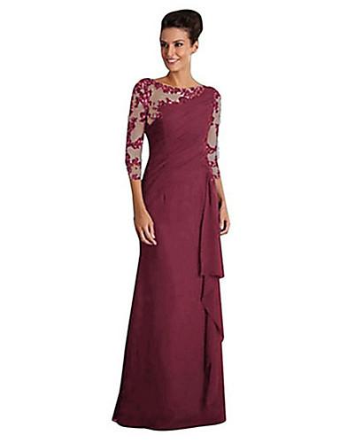 voordelige Maxi-jurken-Dames Verfijnd Elegant A-lijn Bodycon Schede Jurk - Effen, Kant Patchwork Lace Trim Maxi