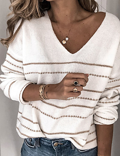 cheap Rewards!!! Sweaters Down to $9.99-Women's Striped Long Sleeve Pullover Sweater Jumper, V Neck White / Purple / Red S / M / L