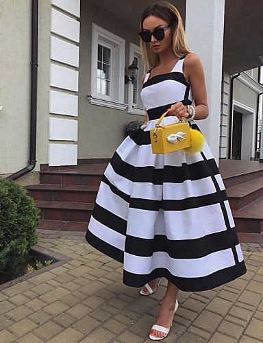 levne Maxi šaty-Dámské Elegantní A Line Šaty - Proužky Maxi Ramínka