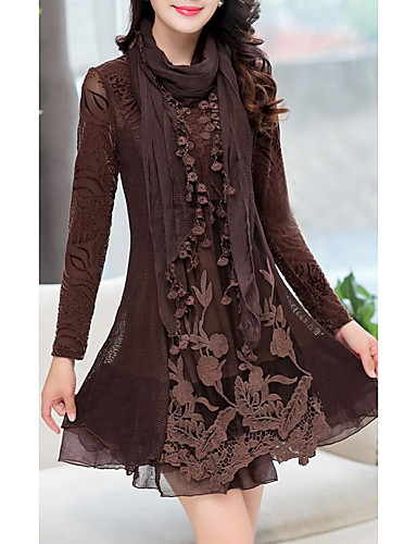 cheap New in Dresses-Women's Daily Wear A Line Dress - Solid Colored Black Camel M L XL XXL