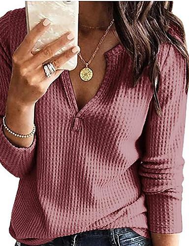 billige Gensere til damer-Dame Ensfarget Langermet Pullover Genserjumper, Dyp V Svart / Vin / Hvit S / M / L