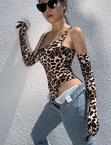 billige Dametopper-Dame Gatemote Gul Sparkedrakter, Polkadotter / Leopard Lapper S M L
