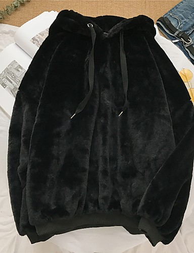 billige Dametopper-N / A Daglig Vinter Normal Faux Fur Coat, Ensfarget Med hette Langermet Bomull Svart / Grå