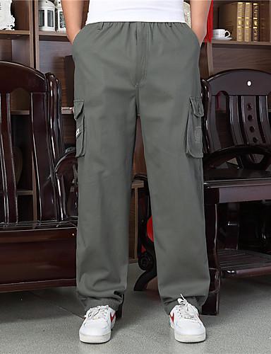 baratos Calças e Shorts Masculinos-Homens Esportivo / Básico Bootcut / Chinos Calças - Sólido Preto Cinza Claro Verde Tropa US32 / UK32 / EU40 US34 / UK34 / EU42 US38 / UK38 / EU46