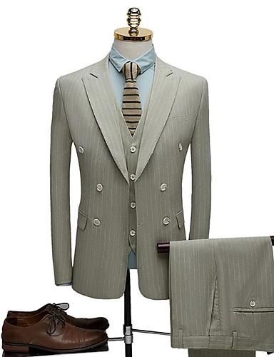 levne Pánské blejzry a saka-Pánské Obleky, Proužky Klasické klopy Polyester Světlá růžová / Světle zelená / Béžová