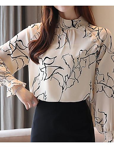 billige Dametopper-Skjorte Dame - Geometrisk Grunnleggende Beige
