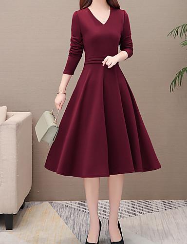 preiswerte Casual Kleider-Damen Grundlegend Elegant A-Linie Kleid Solide Knielang