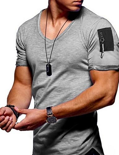 levne Pánské módní oblečení-Pánské - Jednobarevné Tričko Černá