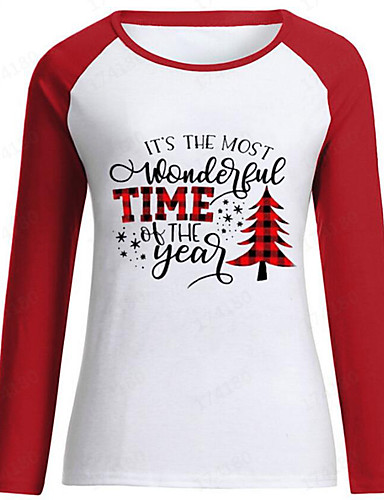 billige T-skjorter til damer-T-skjorte Dame - Blomstret / Bokstaver, Lapper / Trykt mønster Vintage / Grunnleggende Svart