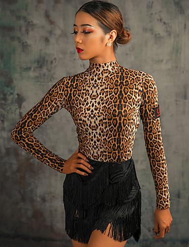 cheap Latin Dancewear-Latin Dance Leotard / Onesie Ruching Women's Performance Long Sleeve Spandex