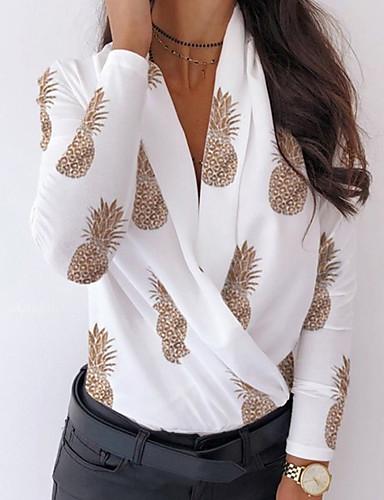 billige T-skjorter til damer-T-skjorte Dame - Leopard / Grafisk / Frukt Hvit