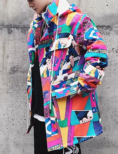 levne Pánská saka a kabáty-Pánské Denní Dlouhé Bunda, Geometrický / Barevné bloky Kapuce Dlouhý rukáv Polyester Světlá růžová