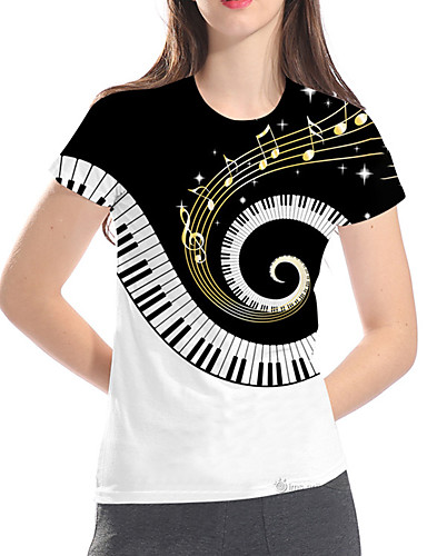 billige Dametopper-T-skjorte Dame - Fargeblokk / 3D / Grafisk, Trykt mønster Grunnleggende / Rock Svart og hvit Hvit