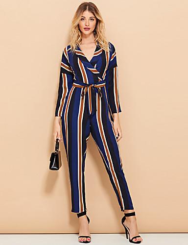 billige Jumpsuits og sparkebukser til damer-Dame Grunnleggende Svart Blå Kjeledresser, Stripet Blondér / Trykt mønster S M L