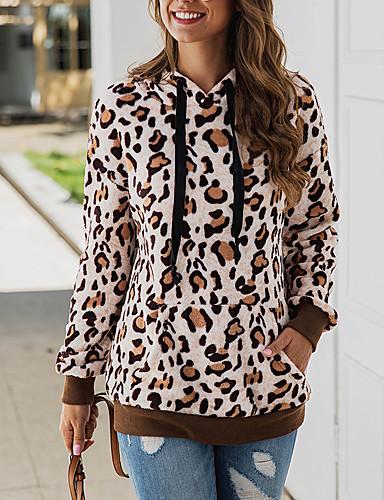 billige Dametopper-Dame Fritid / Grunnleggende Hattetrøje Leopard