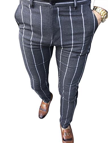 abordables Vêtements Homme-Homme Chic de Rue Chino Pantalon - Rayé Noir Gris Clair Gris Foncé US34 / UK34 / EU42 / US36 / UK36 / EU44 / US38 / UK38 / EU46