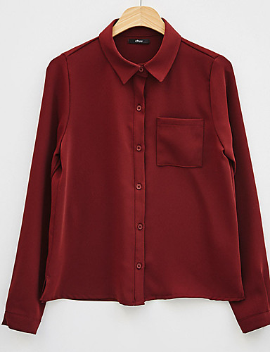 Women's Daily Weekend Business / Elegant Shirt - Solid Colored Patchwork Black