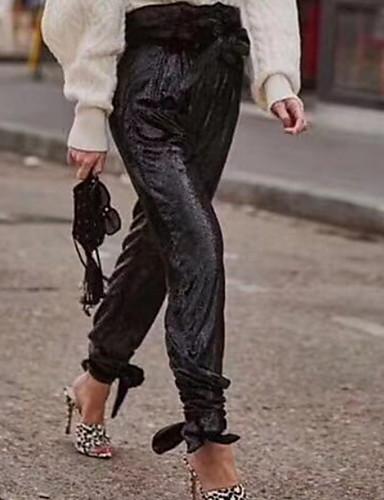 preiswerte Hosen & Röcke für Damen-Damen Schick & Modern Haremshosen Hose - Solide Pailletten Schwarz S M L