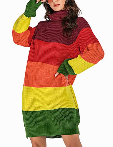 billige Gensere til damer-Dame Fargeblokk Langermet Løstsittende Pullover Genserjumper, Rullekrage Høst / Vinter Bomull Regnbue S / M / L