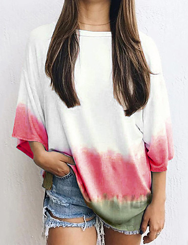 Women's Daily Weekend T-shirt - Color Block White
