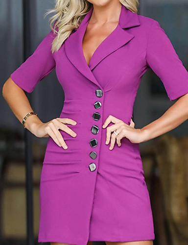 levne Pracovní šaty-Dámské Šik ven Elegantní A Line Bodycon Pouzdro Šaty - Jednobarevné, Patchwork Mini
