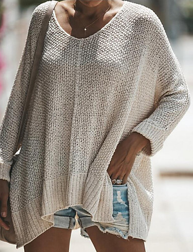 preiswerte Damen Oberteile-Damen Solide Langarm Pullover Pullover Jumper, Geschlitzter Ausschnitt Rosa / Blau / Beige S / M / L