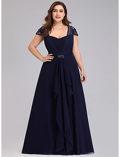 cheap Evening Dresses-A-Line Plus Size Blue Wedding Guest Formal Evening Dress Scoop Neck Short Sleeve Floor Length Chiffon Lace with Crystals Lace Insert 2020