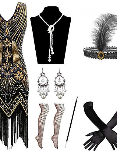 povoljno Maske i kostimi-Čarlston Vintage 1920s Gatsby Haljina s flapperom Setovi dodataka za kostime Žene Kostim Crveno / crno / Zlatni + crna / Obala Vintage Cosplay / Rukavice / Šeširi / 1 Ogrlica / Naušnice