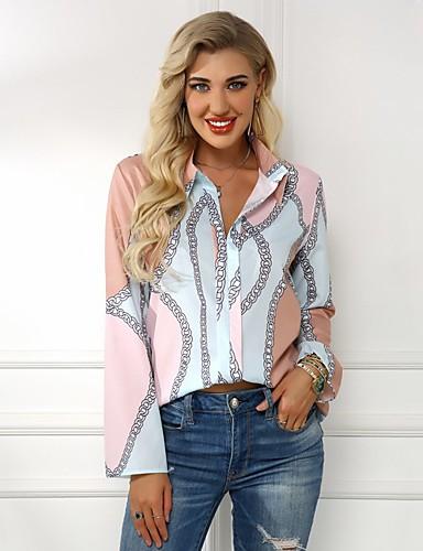 billige Dametopper-Skjorte Dame - Blomstret, Trykt mønster Gatemote BLå & Hvit Lilla