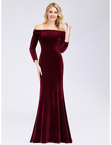 זול שמלות לאירועים מיוחדים-בתולת ים \ חצוצרה אלגנטית ערב רישמי שמלה סירה מתחת לכתפיים שרוול ארוך עד הריצפה קטיפה עם 2020