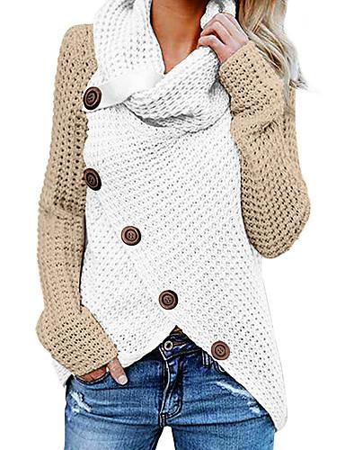 billige Dametopper-Dame Fargeblokk Langermet Pullover Genserjumper, Asymmetrisk Høst / Vinter Svart / Rød / Brun S / M / L