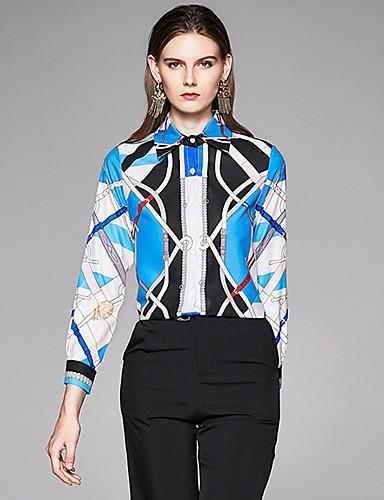 billige Dametopper-Skjorte Dame - Geometrisk, Trykt mønster Vintage BLå & Hvit Blå