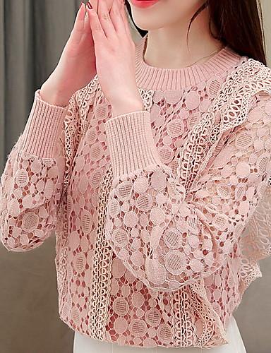 billige Dametopper-Dame Ensfarget Langermet Pullover Genserjumper Svart / Rosa S / M / L