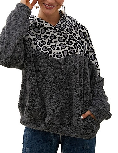 billige Dametopper-Dame Fargeblokk Langermet Pullover Genserjumper, Med hette Hvit / Militærgrønn / Mørkegrå S / M / L