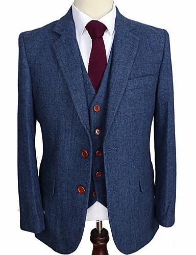 cheap Men's Custom Suits-Blue herringbone wool custom suit