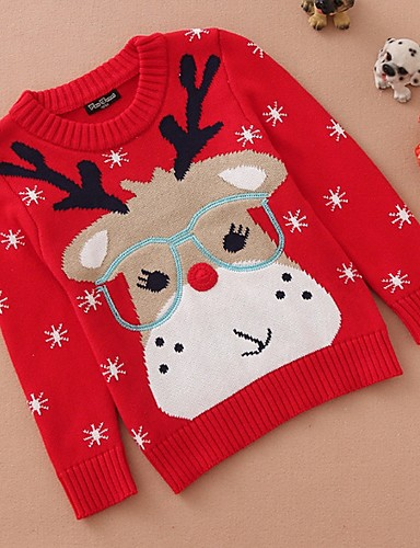 preiswerte ChristmasJumpers-Kinder Mädchen Grundlegend Druck Langarm Pullover & Cardigan Rote