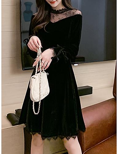 preiswerte Casual Kleider-Damen Chinoiserie Elegant Skater Kleid - Spitze Patchwork, Einfarbig Solide Übers Knie
