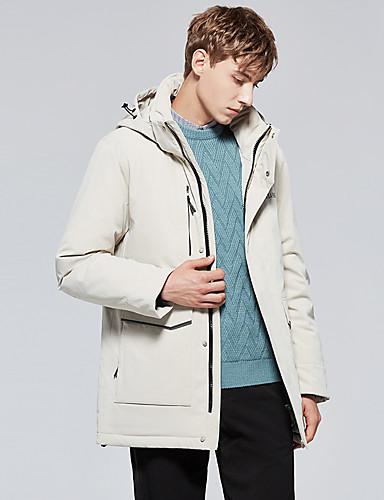 levne Pánské kabáty a parky-Pánské Jednobarevné Standardní Dlouhý kabát, POLY Černá / Béžová US32 / UK32 / EU40 / US34 / UK34 / EU42 / US36 / UK36 / EU44
