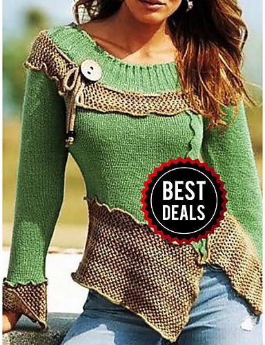 preiswerte Damen Oberteile-Damen Einfarbig Langarm Pullover Pullover Jumper, Rundhalsausschnitt Purpur / Blau / Rote S / M / L