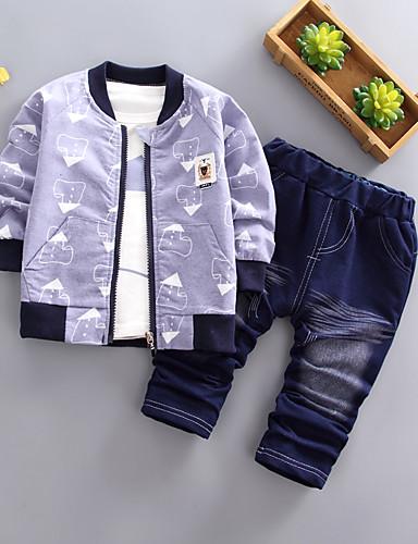 preiswerte Babykleidung Jungen-Baby Jungen Grundlegend Geometrisch Langarm Standard Standard Kleidungs Set Blau