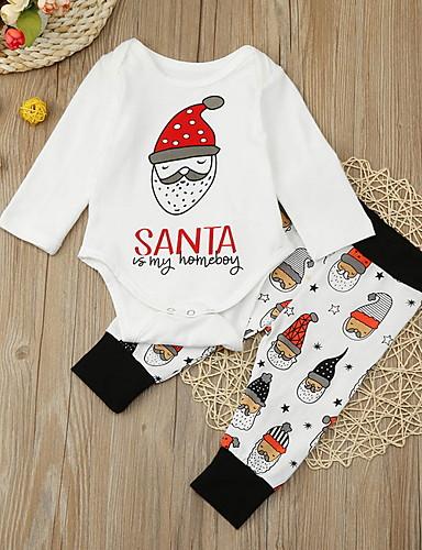 preiswerte Baby & Kinder-Baby Mädchen Street Schick Druck / Weihnachten Langarm Standard Baumwolle Kleidungs Set Weiß