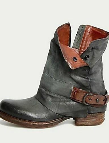 preiswerte Damen Stiefel-Damen Stiefel Komfort Schuhe Niedriger Heel Runde Zehe PU Booties / Stiefeletten Herbst Winter Schwarz / Braun / Grau